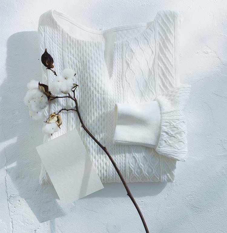 Live love cottonプロジェクト リブ イン コンフォート 編み柄が素敵な袖口リブオーガニックコットントップス〈ホワイト〉