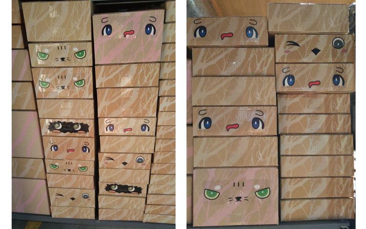 完成した「ハコモン」の箱が山積みになっているところ