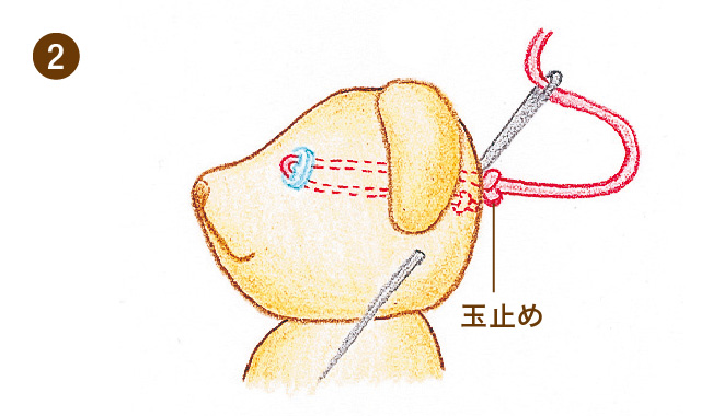 ぬいぐるみの顔のパーツをつけるときの玉止め・玉結びー手順2