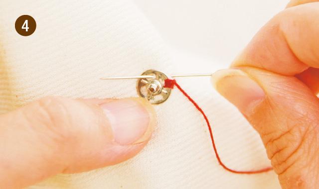 針と糸でスナップボタンを付ける場合4