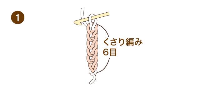 かぎ針編み こま編み 手順①