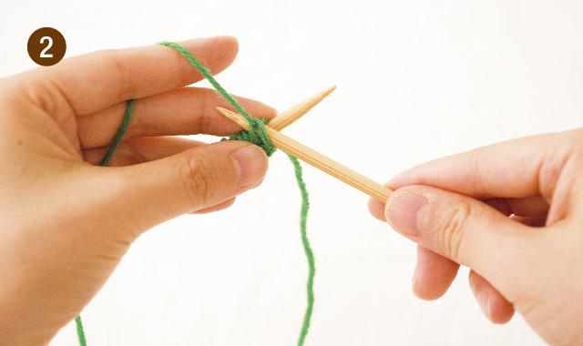 メリヤス編み フランス式 持ち方 手順②