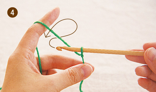 アフガン編み くさり編み 手順④