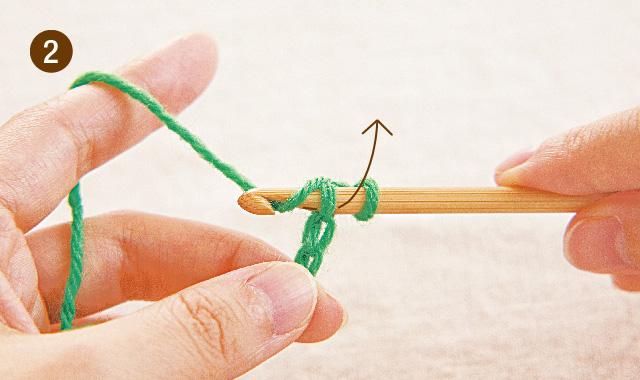アフガン編み 1段めの往路(表編み)手順②