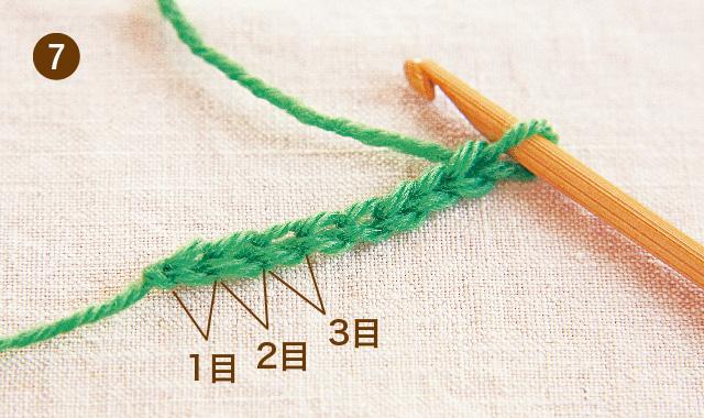 アフガン編み くさり編み 手順⑦