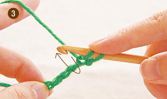 アフガン編み 1段めの往路(表編み)手順③