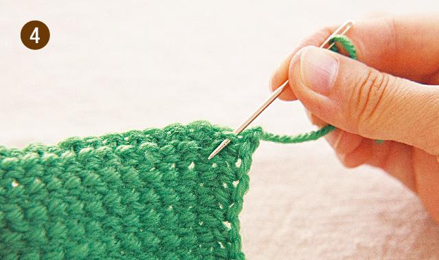 アフガン編み 引き抜き編み 手順④