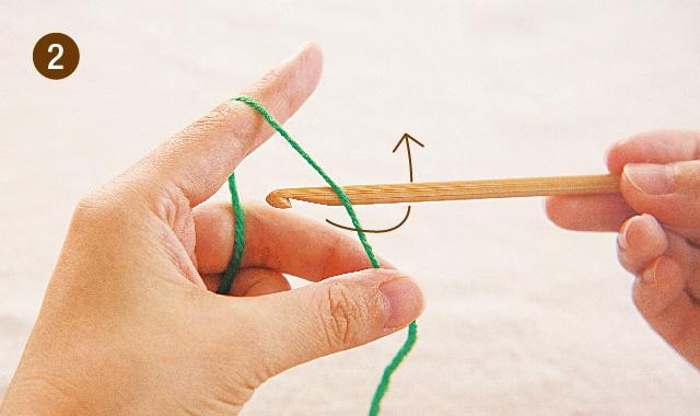 アフガン編み くさり編み 手順②