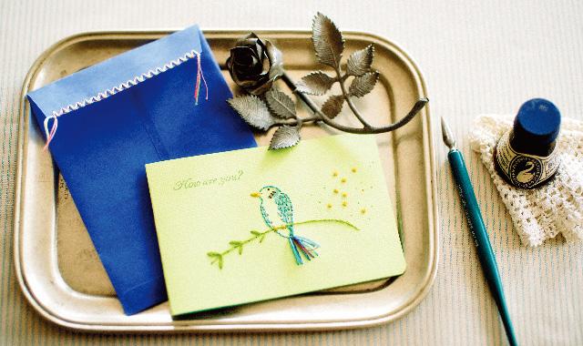 紙刺しゅうの封筒・カード