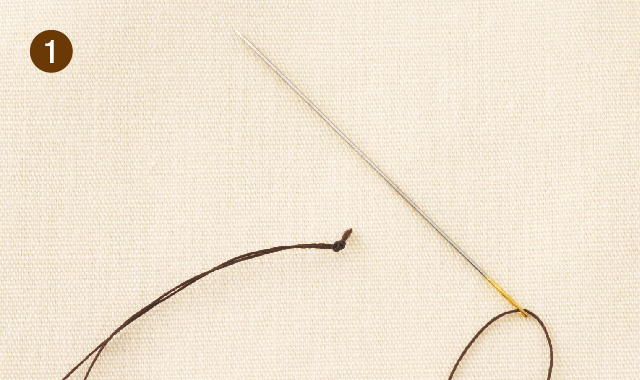 ビーズ刺しゅう 1粒ずつ刺す方法 手順①