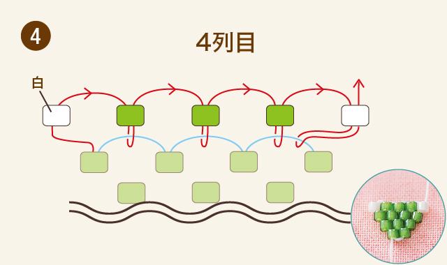 ビーズステッチー三つ葉のクローバーの作り方④