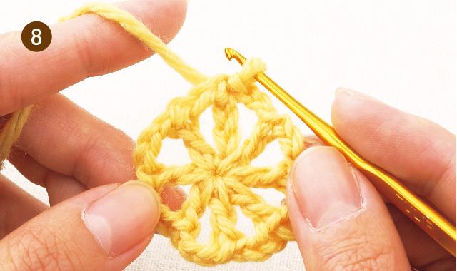 かぎ針編み 雪の結晶モチーフ 手順⑧