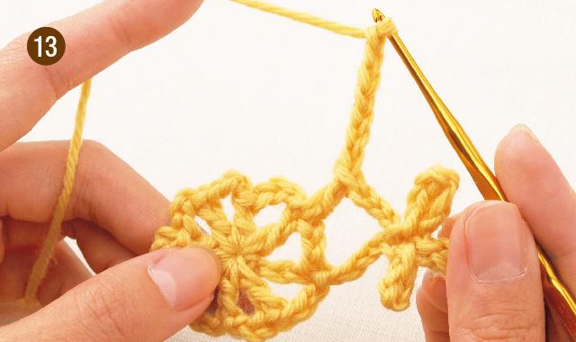 かぎ針編み 雪の結晶モチーフ 手順13