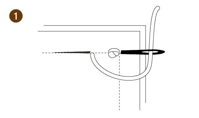返し縫いの手順1