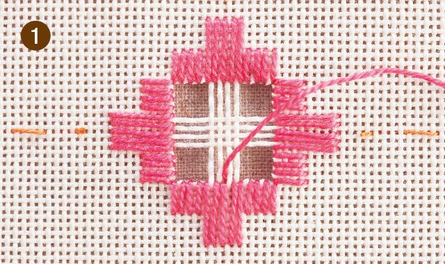 ハーダンガー刺繍 残った布をかがります 手順①