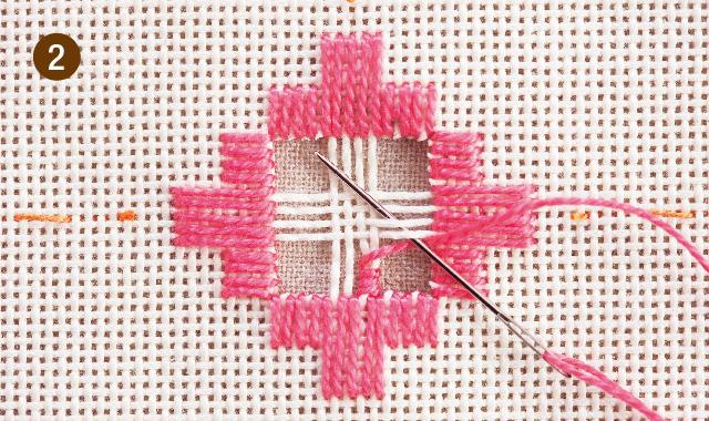 ハーダンガー刺繍 残った布をかがります 手順②