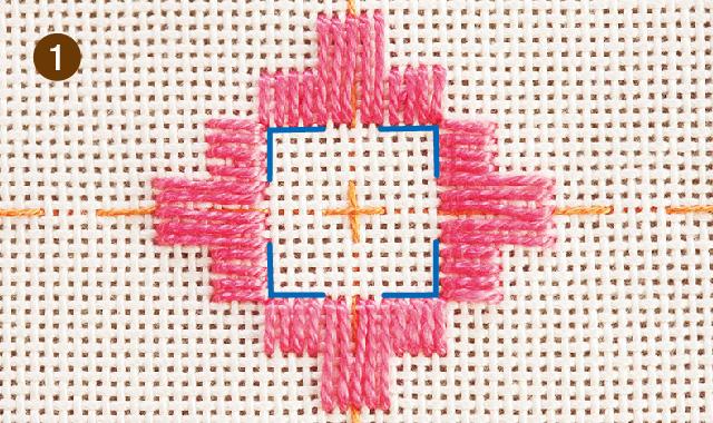 ハーダンガー刺繍 織り糸をカットして抜きます 手順①