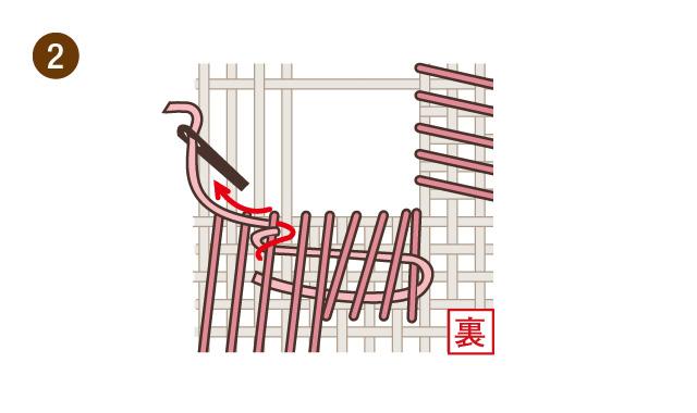 ハーダンガー刺繍 刺し始めB 手順②
