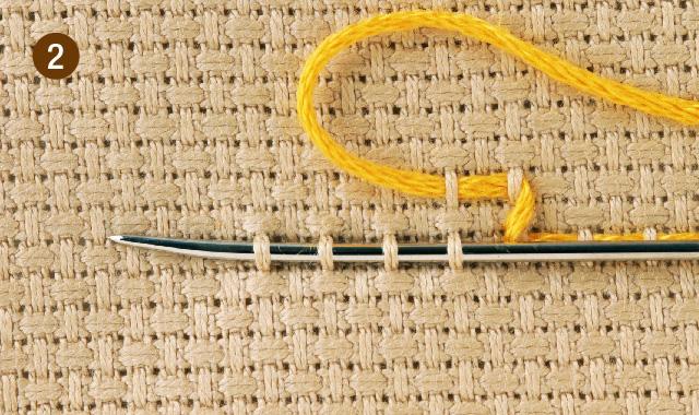 スウェーデン刺繍 2段上がり 手順②