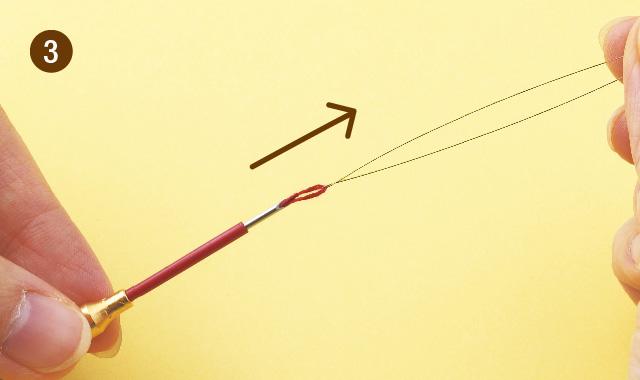 ニードルパンチ 針に糸を通しましょう 手順③