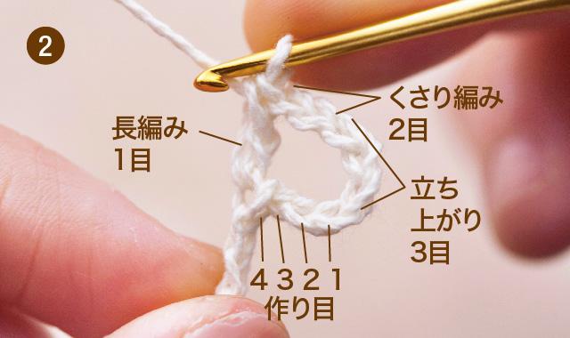 方眼編み 水玉ストール 作り目・1段め 手順②
