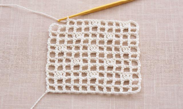 方眼編み 水玉ストール 作り目・6段め 手順②