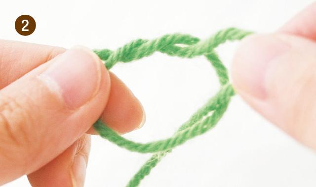 メリヤス編み 作り目 手順②