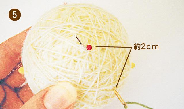 手まりの作り方 地割り糸のかがり方 手順⑤