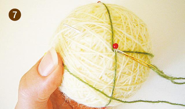 手まりの作り方 地割り糸のかがり方 手順⑦
