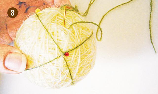 手まりの作り方 地割り糸のかがり方 手順⑧