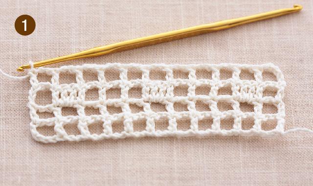 方眼編み 水玉ストール 作り目・4段め 手順①