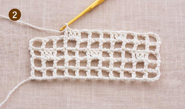 方眼編み 水玉ストール 作り目・5段め 手順②