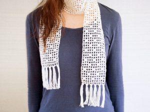 方眼編みで作る、ストールの編み方