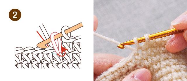 こま編み 編み方 手順②