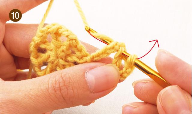 かぎ針編み 雪の結晶モチーフ 手順⑩