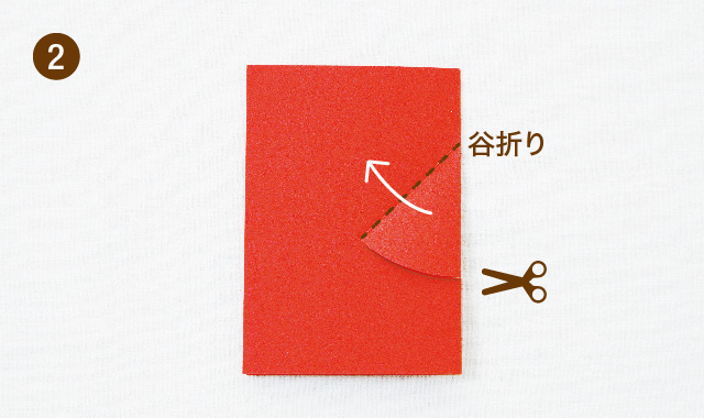 飛び出すカードの基本 V字の作り方 手順②