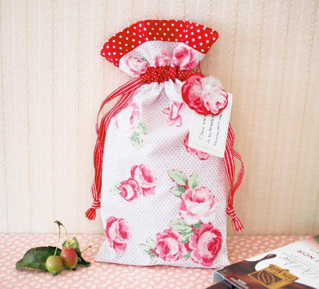 花咲くラッピング巾着