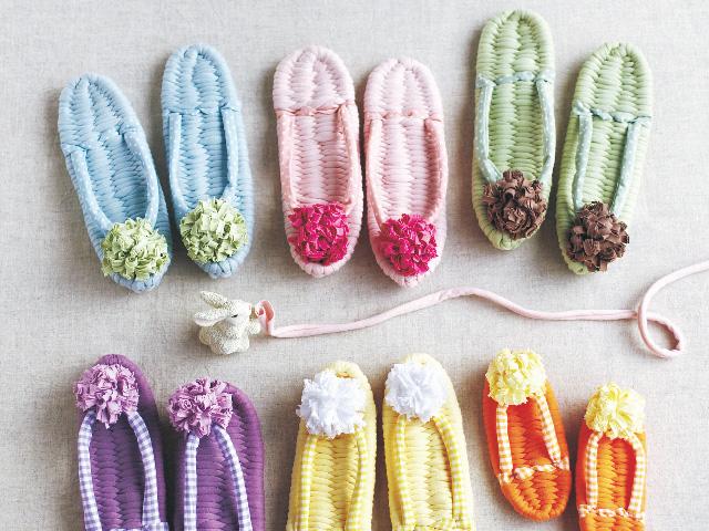 布ぞうりの編み方で作る布小物