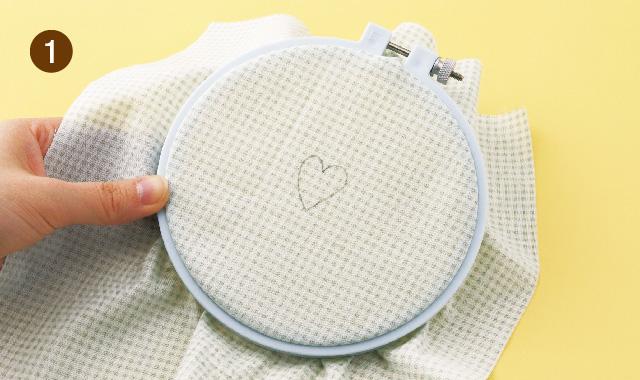 ニードルパンチ フープに布を張りましょう 手順①