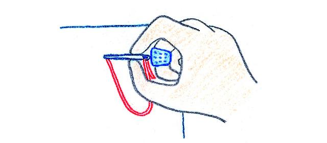 指ぬきの使い方 針が布の裏に出ているとき