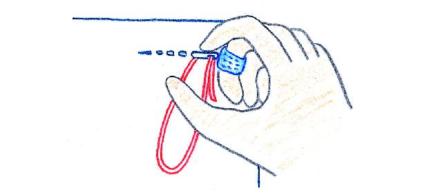 指ぬきの使い方 針が布の表に出ているとき