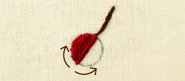 面を埋めるステッチ きれいに仕上げるためのアドバイス 左右対称の図案は中心から