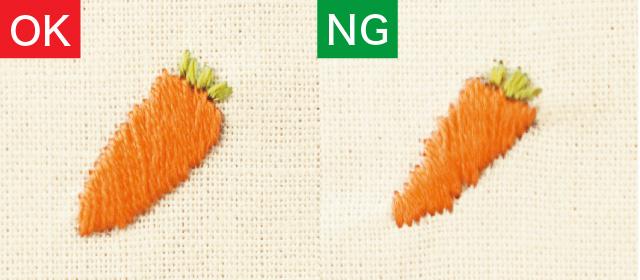 面を埋めるステッチ きれいに仕上げるためのアドバイス 刺繍枠を使って、糸を引き過ぎない