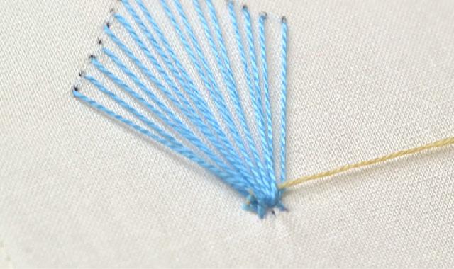 ニャンドゥティ 土台に糸を通していきましょう 手順②