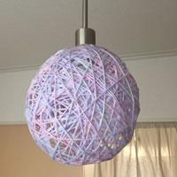毛糸でランプシェード作ってみた。