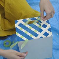 お子さま向けイベント用に三日月チェア&白木の箱のペイントしました!後編