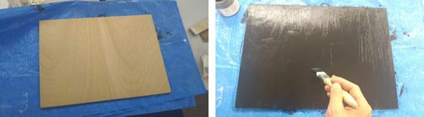 黒板部分は、磁石がくっつくようにしたいのでマグネット塗料を先に塗ります