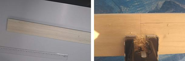 粉受け部分を作るため、黒板と同じ幅になるところに線を引きます