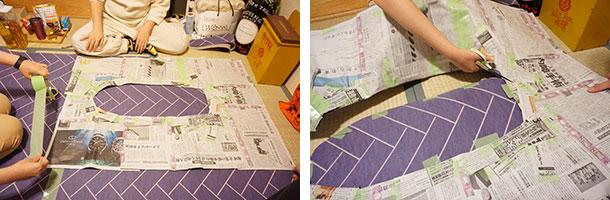 型紙とシートをしっかり固定して、はさみでカットしていきます