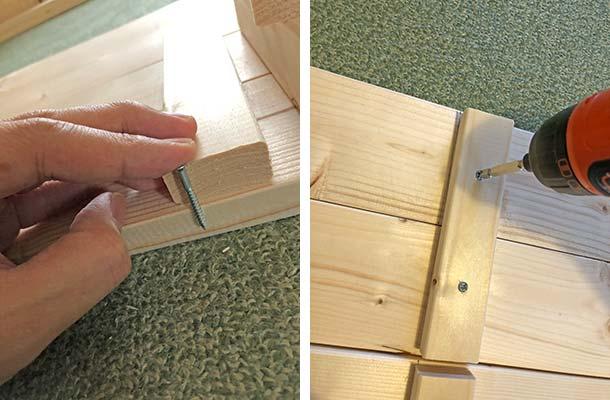 1×4材を2枚並べて使用するので2枚の板をくっ付ける作業から